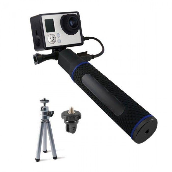 Selfie-stick com Power Bank para a Câmara Desportiva KSIX 5200 mAh Preto