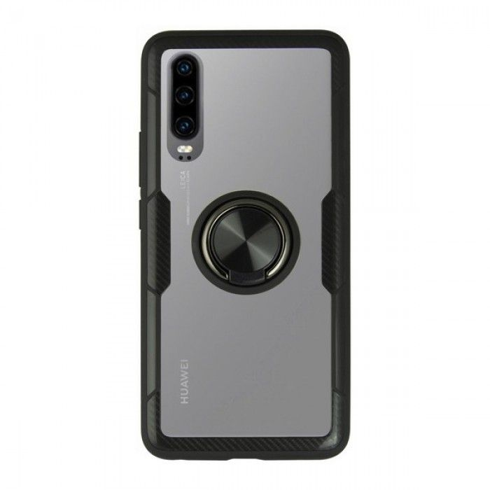 Carcasa con Anilla Huawei P30 KSIX 360 Ring Negro