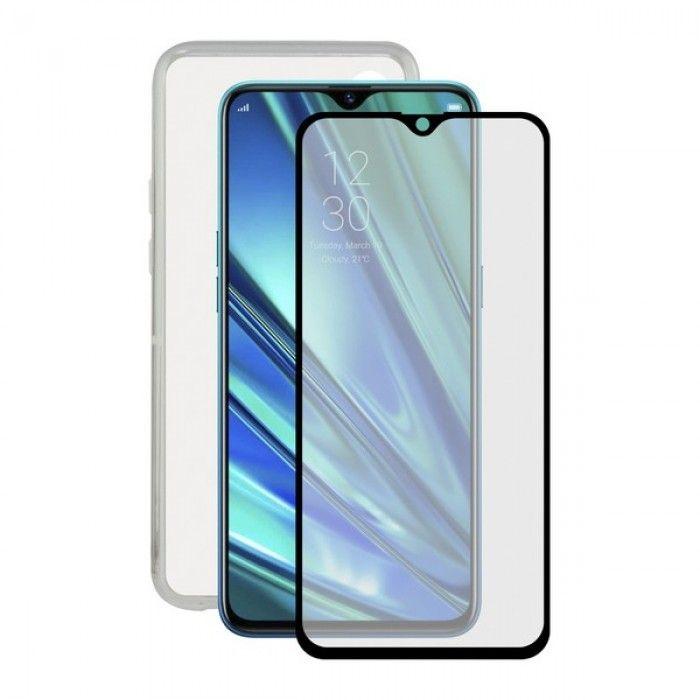 Protetor de vidro temperado para o telemóvel + Estojo para Telemóvel Realme X2 Contact