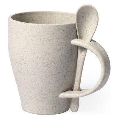 Chávena com Colher 146549 400 ml Fibra de bambu Pp