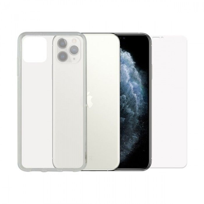 Tempered Glass Mobile Screen Protector + Mobile Case Iphone 11 Pro Max Contact