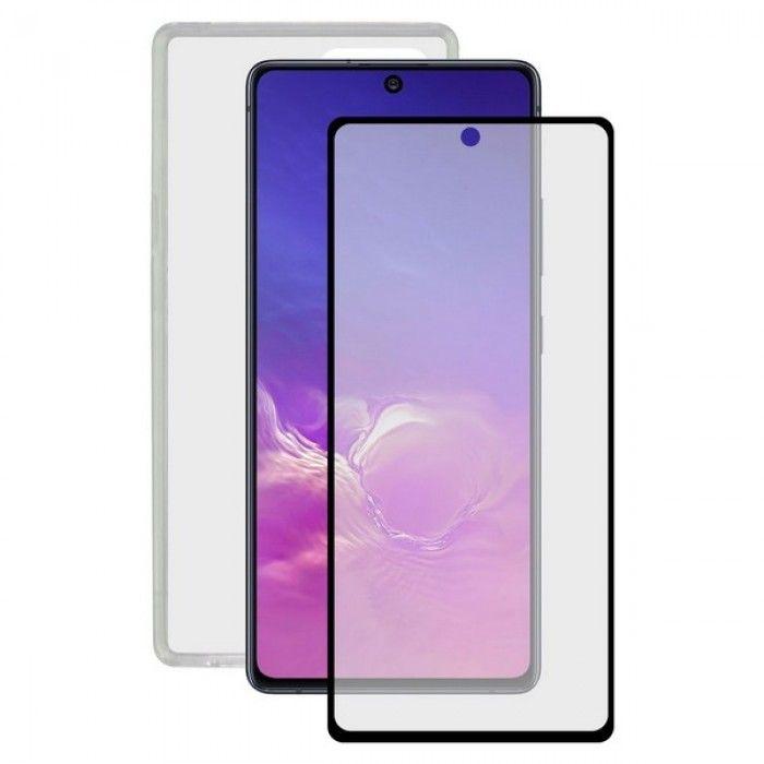 Protector de Pantalla Cristal Templado para Móvil + Funda para Móvil Samsung Galaxy Note 10 Lite Con