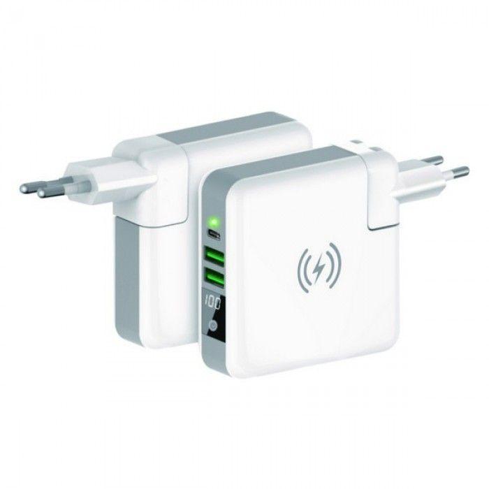 Power Bank sem Fios KSIX Travelling Charging 4in1 6700 mAh Branco