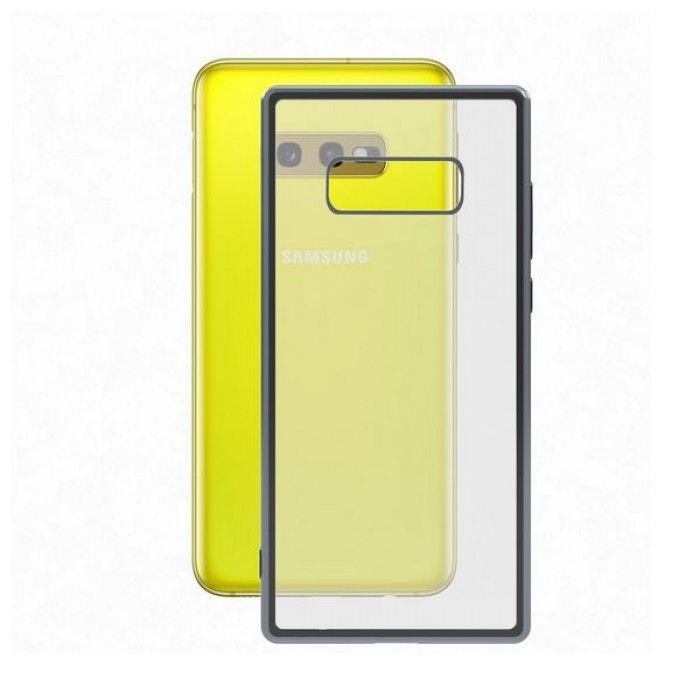 Mobile cover Samsung Galaxy S10e KSIX Flex Metal TPU Transparent Grey Metallic