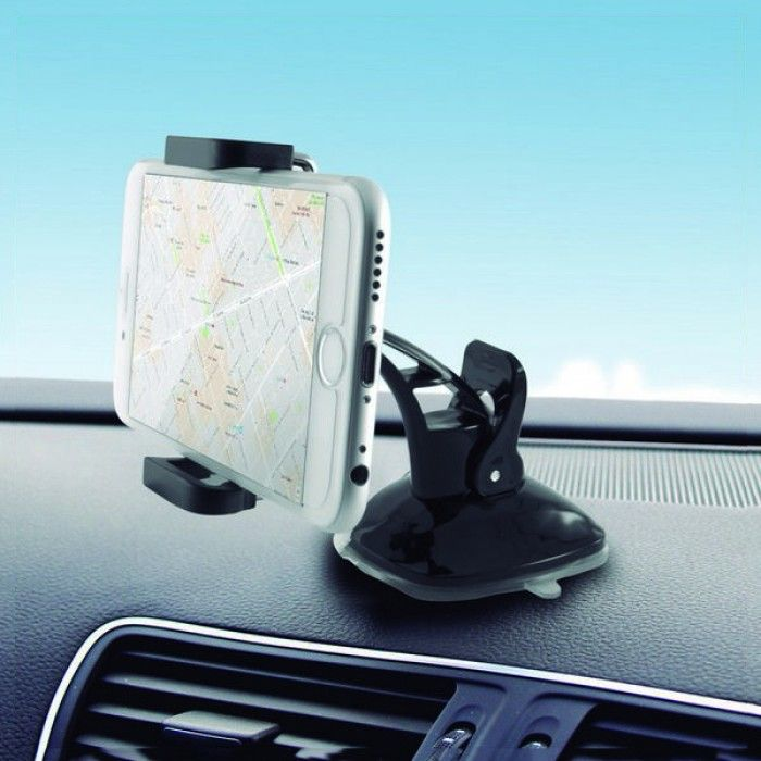 Mobile Phone Holder for Car with Suction Cup KSIX 360º Black
